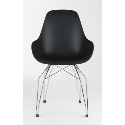 Diamond Dimple Side Chair Base Finish: Chrome, Color: Black
