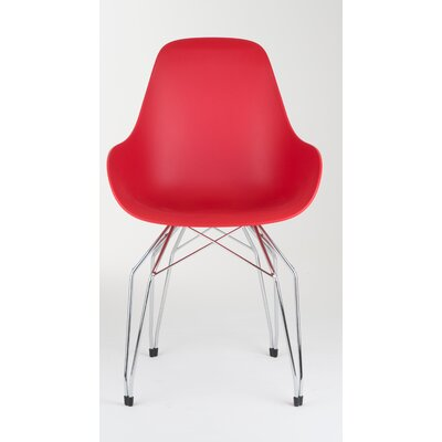 Diamond Dimple Side Chair Base Finish: Chrome, Color: Red