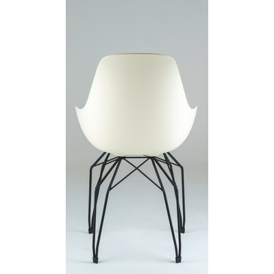 Diamond Dimple Arm Chair Color: Cream, Base Finish: Black