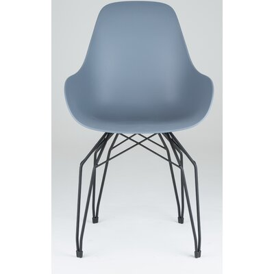Diamond Dimple Side Chair Color: Dark Grey, Base Finish: Black