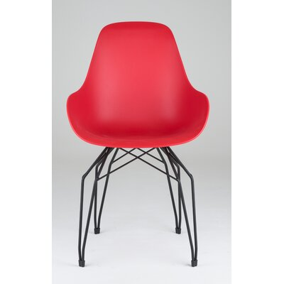 Diamond Dimple Arm Chair Color: Red, Base Finish: Black