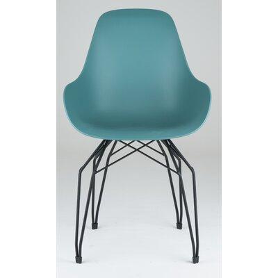 Diamond Dimple Side Chair Color: Ocean Blue, Base Finish: Black