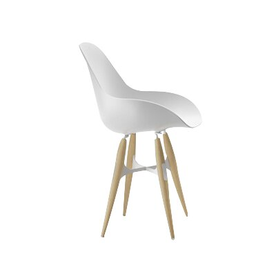 ZigZag Dimple Arm Chair Color: Walnut, Uphostery Color: White