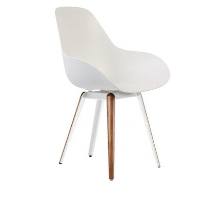 Slice Dimple Side Chair Color: White, Finish: Walnut