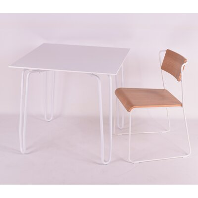 Diamond Contract Dining Table Base Finish: White, Top Finish: White