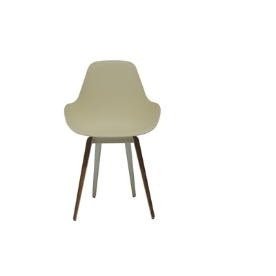 Slice Dimple Side Chair Color: Cream, Finish: Walnut