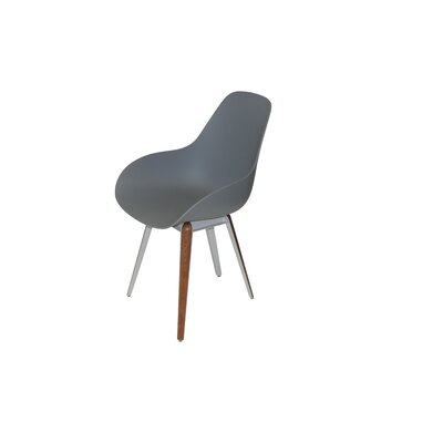 Slice Dimple Side Chair Color: Light Grey, Finish: Walnut
