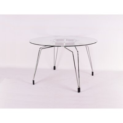 Diamond Dining Table Base Finish: Chrome, Top Finish: Clear