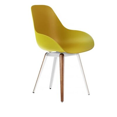 Slice Armchair Upholstery: Mustard, Finish: Walnut