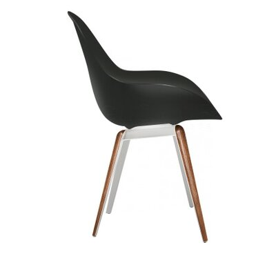 Slice Dimple Side Chair Color: Black, Finish: Walnut