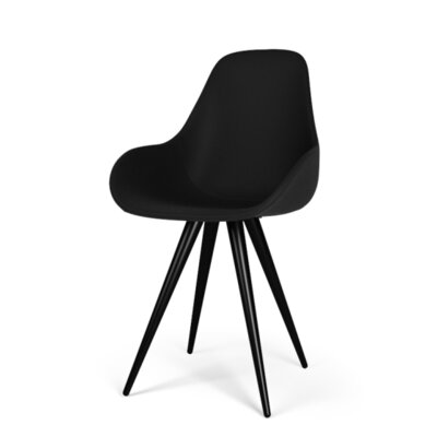 Angel Contract Dimple Pop Side Chair Finish: Black, Upholstery: Leather - Black