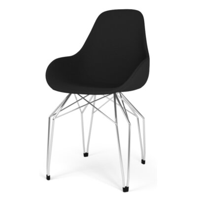 Diamond Dimple POP Armchair Finish: Black, Color: Leather - Light Grey