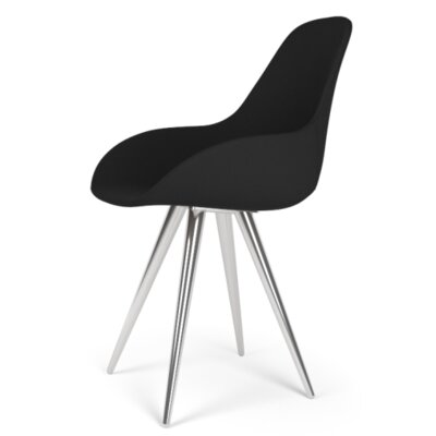 Angel Contract Dimple Pop Side Chair Finish: Chrome, Color: Leather - Black