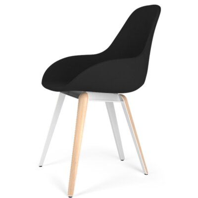 Slice Dimple POP Side Chair Upholstery: Leather - Black, Finish: Natural