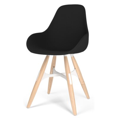 Zigzag Dimple Pop Side Chair Finish: Walnut, Color: Leather - Black