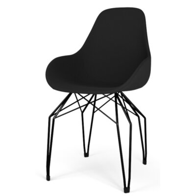 Diamond Dimple POP Armchair Finish: Chrome, Upholstery: Leather - Black