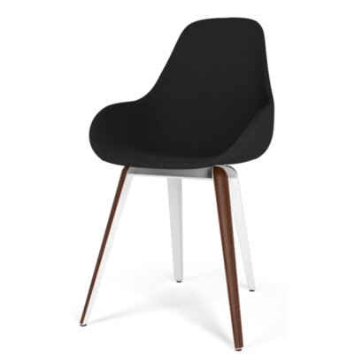 Slice Dimple POP Side Chair Color: Leather - Black, Finish: Natural