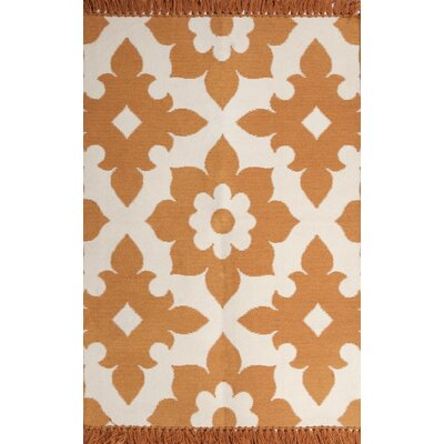 Fleur de lis Marigold/Cream Indoor/Outdoor Area Rug Rug Size: 8 x 10
