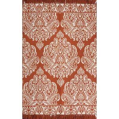 Medallion Coral/Cream Indoor/Outdoor Hand Woven Area Rug Rug Size: 5 x 76