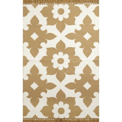 Fleur de lis Brown/Cream Indoor/Outdoor Area Rug Rug Size: 36 x 56