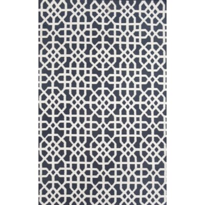 Tile Indigo/Cream Indoor/Outdoor Hand Woven Area Rug Rug Size: 36 x 56