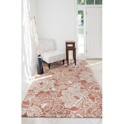 Farina Hand-Woven Coral/ivory Indoor Area Rug Rug Size: 5' x 8'