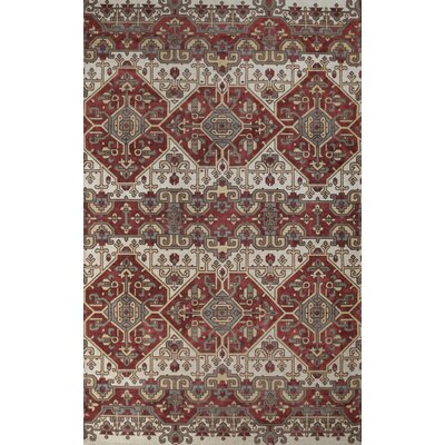 Moroccan Hand-Woven Ivory/Rust Indoor Area Rug Rug Size: 8 x 10