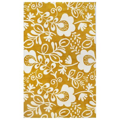 Microplush Yellow Area Rug Rug Size: 5' x 8'
