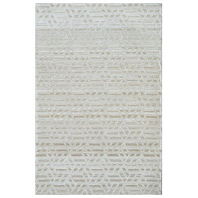 Hand-Woven Ivory Area Rug Rug Size: 5 x 8