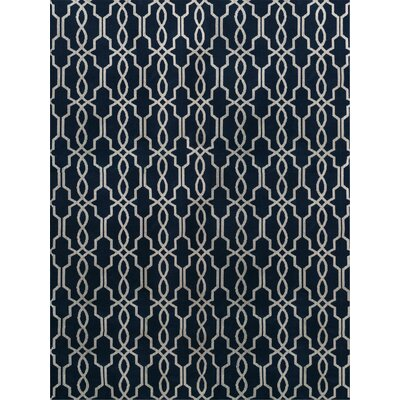Pearle Hand-Woven Navy Area Rug Rug Size: 9 x 12
