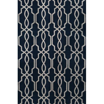 Pearle Hand-Woven Navy Area Rug Rug Size: 5 x 75