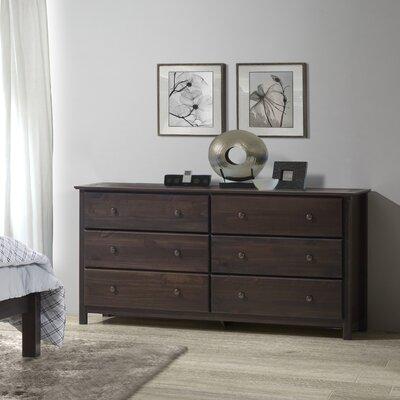 Shaker 6 Drawer Dresser Color: Espresso
