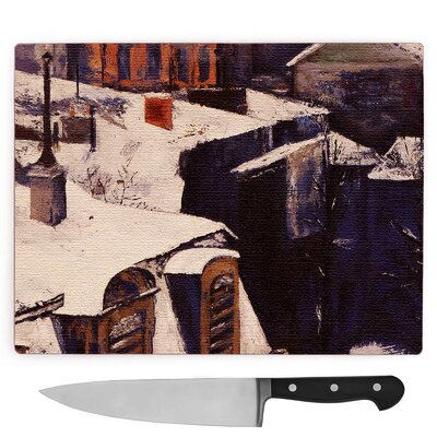 Gustave Caillebotte Rooftops in the Snow Large Chopping Board