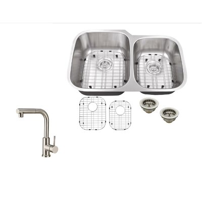 32 x 20.75 Double Bowl Undermount Kitchen Sink with Faucet