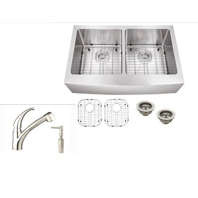 32.88 x 21.25 Stainless Steel Double Basin Farmhouse Kitchen Sink with Faucet