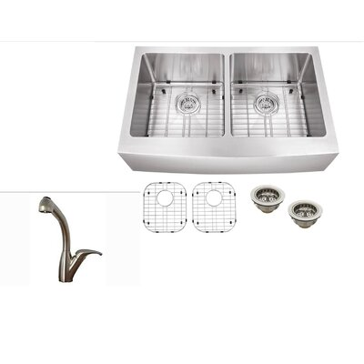32.77 x 21.25 Stainless Steel Double Basin Undermount Kitchen Sink with Faucet