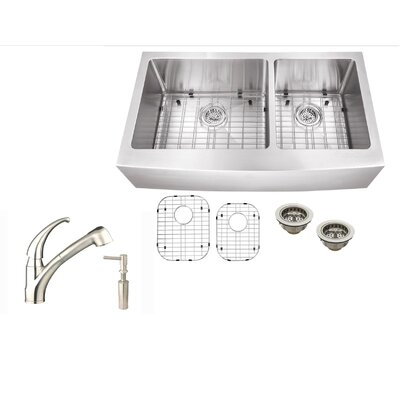 36 x 21 Stainless Steel Double Basin Undermount Kitchen Sink with Faucet