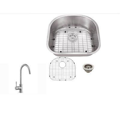 16 Gauge Stainless Steel 23.25 x 20.88 Undermount Kitchen Sink with Gooseneck Faucet