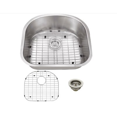 16 Gauge Stainless Steel 23.25 x 20.88 Undermount Kitchen Sink with Grid Set and Drain Assembly