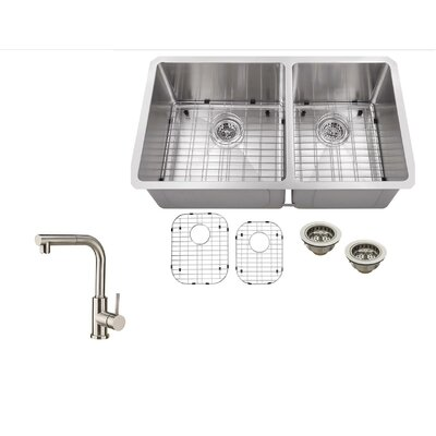 32 x 19 Stainless Steel 16 Gauge Radius 60/40 Kitchen Sink with Faucet