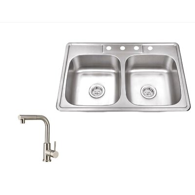 33 x 22 Stainless Steel Drop In Double Bowl Kitchen Sink with Faucet