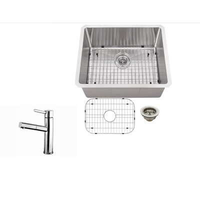 23 x 19 Single Bowl Undermount Bar Sink with Faucet