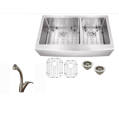 36 x 21.25 Stainless Steel 16 Gauge Apron Front 60/40 Double Basin Kitchen Sink with Faucet