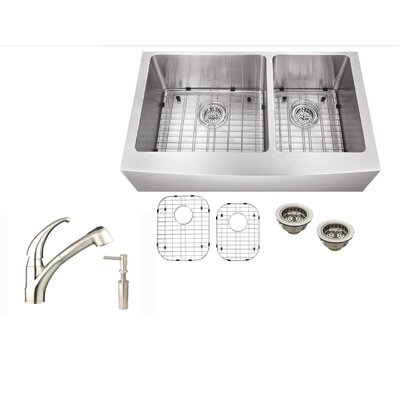 33 x 21 Stainless Steel Double Basin Undermount Kitchen Sink with Faucet