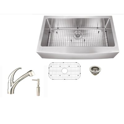 36 x 21 Stainless Steel Single Bowl Undermount Kitchen Sink with Faucet