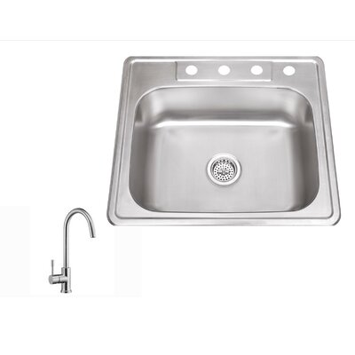 25 x 22 Stainless Steel Drop In Single Bowl Kitchen Sink with Faucet