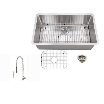 32 x 19 Stainless Steel 16 Gauge Radius Single Bowl Kitchen Sink with Faucet