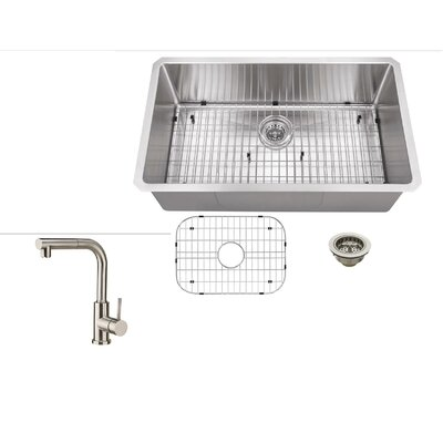 Radius 16 Gauge Stainless Steel 32 x 19 Single Bowl Undermount Kitchen Sink with Faucet