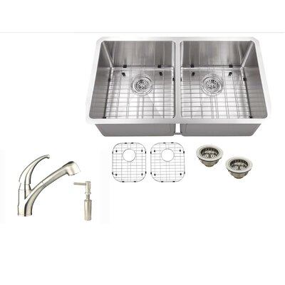32 x 19 Stainless Steel 16 Gauge Radius 50/50 Kitchen Sink with Faucet