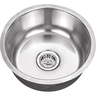 17.13 x 17.13 Stainless Steel 18 Gauge Single Bowl Round Bar Sink